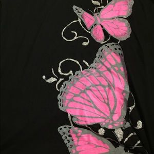 Tops - Butterfly T-shirt see thru top of shoulder